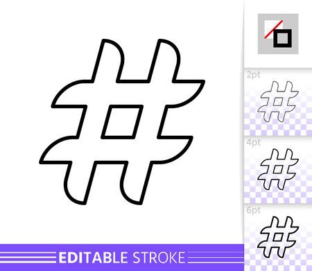 Hashtag single thin line icon. Social Media flat banner. Hash Tag poster. Linear pictogram. Simple illustration, outline symbol. Vector sign isolated on white. Editable stroke icons without fill Vettoriali
