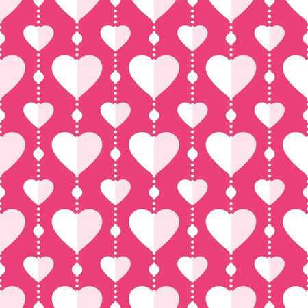 Heart seamless pattern. Love, valentine's day, wedding, romantic symbol. Paper style hearts garland repeat ornament pink, red background for wrap, fabric print, wallpaper decor. Vector illustration