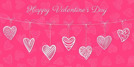 Happy valentine's day card. White hearts garland on pink heart pattern background. Love valentine greeting text. February 14, valentine romantic, wedding symbol, border design. Vector Illustration Standard-Bild - 138004777