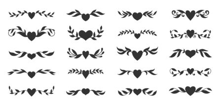 Hearts with floral wings set. Valentines day, love, wedding, romantic symbol. Tattoo design, glyph style. Text dividers, fancy decor border with tribal heart and decorative branch. Vector illustration
