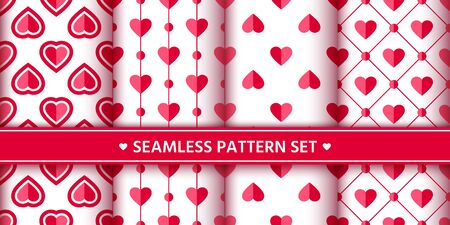 Heart seamless pattern set. Love, valentine's day, wedding, romantic symbol. Cute pink, red hearts signs, repeat ornament background for paper wrap, fabric print, wallpaper decor. Vector illustration