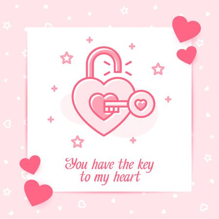 Open lock heart shape with key valentine card with love text, Valentines day, february 14, pink line icon with decor, social networks post template. Love, wedding, romantic symbol. Vector illustration Vettoriali