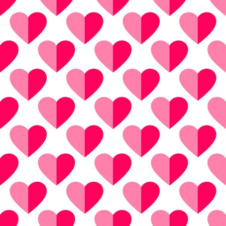 Heart seamless pattern. Love, valentines day, wedding, romantic symbol. Paper style pink, red hearts sign repeat ornament background for paper wrap, fabric print, wallpaper decor. Vector illustration Vettoriali