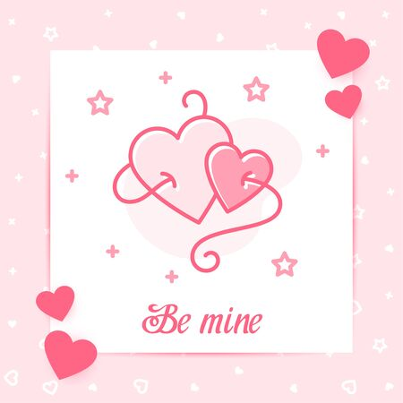 Two hearts fastened one thread valentine card with Be mine text for Valentines day, february 14 decor pink line icon, social networks post template. Love, wedding, romantic symbol. Vector illustration