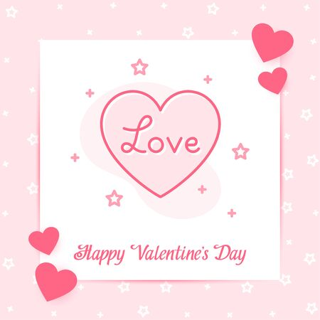 Heart on valentine card with Love text for valentines day, february 14, pink color, line icon style with decor, social networks post template. Love, wedding, romantic symbol. Vector illustration Vettoriali
