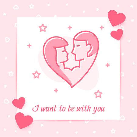 Girl and guy kiss in one heart shape valentine card, I want to be with you text, Valentines day, february 14, pink line icon decor, post template. Love, wedding, romantic symbol. Vector illustration