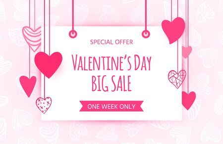 Valentines day big sale, text banner. Special offer, valentine shopping clearance flyer. Pink, red hearts garland. Love, romantic, wedding gift shop. February 14 advertising sign. Vector illustration Vettoriali