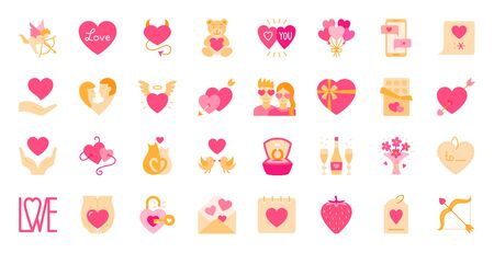 Valentines day flat cartoon icon set romantic sign for valentine card, poster, banner design, simple love symbol. Heart, chocolate, candy, love mail, angel and devil hearts, cupid, vector illustration
