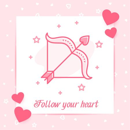 Cupids bow and arrow valentine card with Follow your heart text, Valentines day, february 14 decor pink line icon, social networks post template. Love, wedding, romantic symbol. Vector illustration Vettoriali