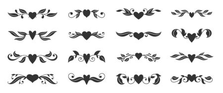 Hearts with floral wings set. Valentines day, love, wedding, romantic symbol. Tattoo design, glyph style. Text dividers, fancy decor border with tribal heart and decorative branch. Vector illustration Standard-Bild - 139625038
