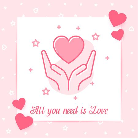 Heart on hands valentine card with text - All you need is Love for Valentines day, february 14, decor pink line icon, social network post template. Love, wedding, romantic symbol Vector illustration Standard-Bild - 138510140