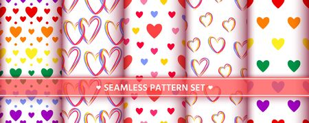 Heart seamless pattern set. Love, valentines day, wedding, romantic symbol. Cute colorful hearts signs, repeat ornament background for paper wrap, fabric print, wallpaper decor. Vector illustration