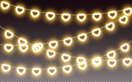 Hearts light bulb garland with yellow neon glow effect on transparent background, element for love, valentine, wedding romantic design, valentines day, outline heart shape garlands Vector illustration