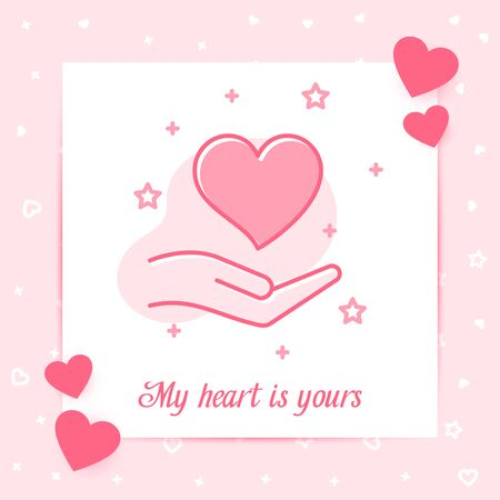 Heart on hand valentine card with My heart is yours text, happy Valentines day, february 14, pink line icon with decor, social network post template. Love, wedding, romantic symbol Vector illustration Ilustração
