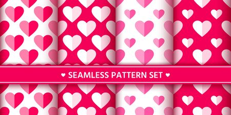 Heart seamless pattern set. Love, valentines day, wedding, romantic symbol. Cute pink, red hearts signs, repeat ornament background for paper wrap, fabric print, wallpaper decor. Vector illustration