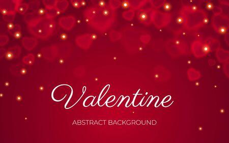 Tarjeta de San Valentín con texto, bokeh transparente rojo sobre fondo rojo abstracto con brillo de luz. Día de San Valentín, amor, boda, plantilla de banner de romance. Bokeh en banner en forma de corazón, ilustración vectorial Ilustración de vector