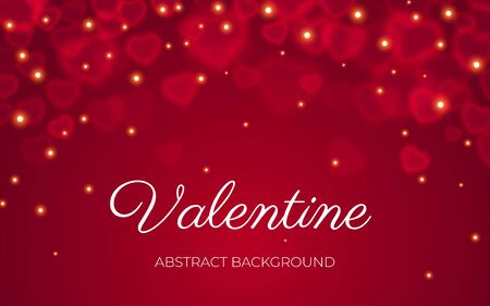 Valentine card with text, red transparent bokeh on abstract red background with light sparkle. Valentines day, love, wedding, romance banner template. Bokeh on heart shape banner, Vector illustration