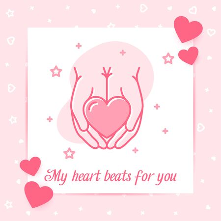 Heart in hands valentine card with text - All you need is Love for Valentines day, february 14, decor pink line icon, social network post template. Love, wedding, romantic symbol Vector illustration Vettoriali