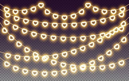 Heart garland, yellow neon light bulb glow effect, design elements for love, valentine, wedding, romantic, valentines day holiday design, hearts garlands on transparent background. Vector illustration