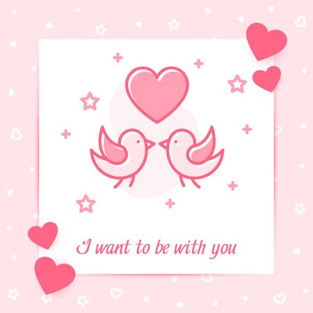 Two birds kiss, valentine card, heart and I want to be with you text Valentines day, february 14, decor pink line icon social networks post template. Love, wedding, romantic symbol Vector illustration
