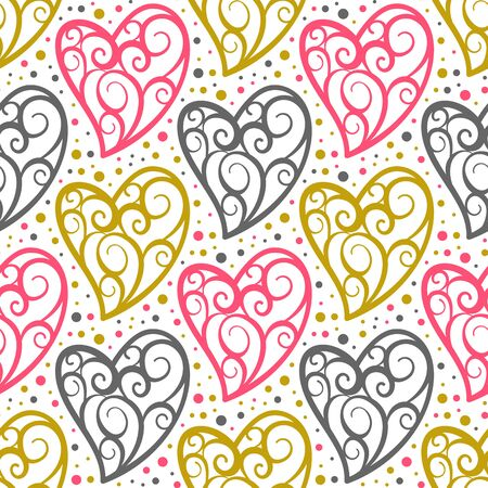 Heart seamless pattern. Love, valentines day, wedding, romantic symbol. Openwork ornate colorful hearts, repeat ornament, background for paper wrap, fabric print, wallpaper decor. Vector illustration