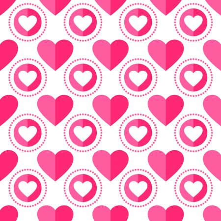 Heart seamless pattern. Love, valentines day, wedding, romantic symbol. Paper style hearts and circle ornament pink, red background for paper wrap, fabric print, wallpaper decor. Vector illustration Vettoriali