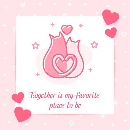 Two cats hug and kiss valentine card with heart and love text for Valentines day, february 14, line icon with decor, social networks post template. Love, wedding, romantic symbol. Vector illustration Vettoriali