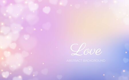 Love banner, white hearts bokeh corner frame on pastel colored background, abstract light airy backdrop, valentine, love, wedding, romantic holidays card with text template design, vector illustration