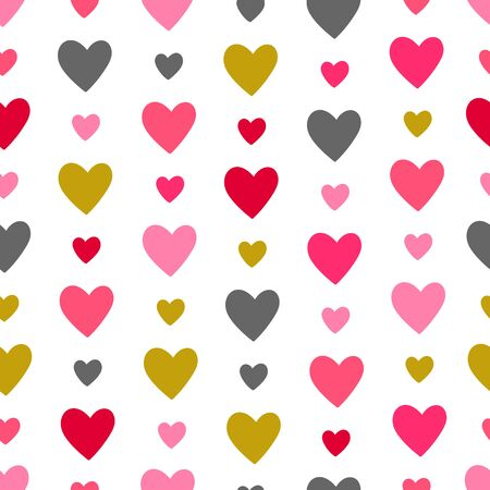 Heart seamless pattern. Love, valentines day, wedding, romantic symbol. Colorful hearts garland sign repeat ornament background for paper wrap, fabric print, wallpaper decor. Vector illustration Vettoriali