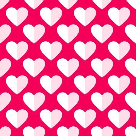 Heart seamless pattern. Love, valentines day, wedding, romantic symbol. Paper style hearts sign repeat ornament pink, red background for paper wrap, fabric print, wallpaper decor. Vector illustration Vettoriali