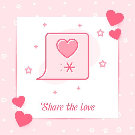 Text bubble with heart love and kiss sign valentine card, happy Valentines day, february 14, pink line icon with decor, social network post template. Love, wedding, romantic symbol Vector illustration