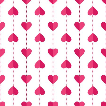 Heart seamless pattern. Love, valentines day, wedding, romantic symbol. Paper style pink, red hearts garland repeat ornament background for wrap, fabric print, wallpaper decor. Vector illustration