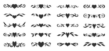 Hearts with floral wings set. Valentines day, love, wedding, romantic symbol. Tattoo design, glyph style. Text dividers, fancy decor border with tribal heart and decorative branch. Vector illustration Standard-Bild - 139469853