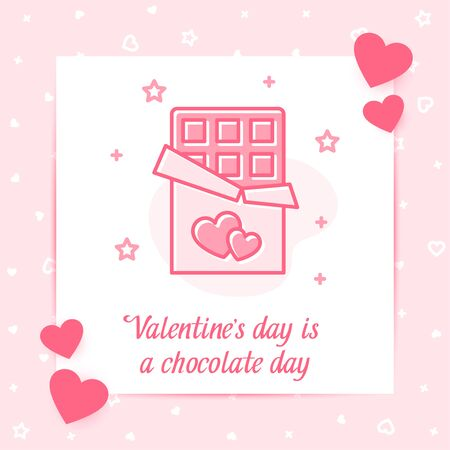 Chocolate bar with hearts on wrapper valentine card with love text, Valentines day, february 14 pink decor line icon, social networks post template. Love, wedding, romantic symbol. Vector illustration