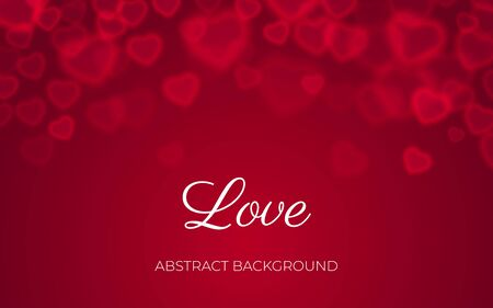 Love background, abstract red heart bokeh design, valentine card with text, wedding romantic banner template, transparent love symbols heart shaped bokeh on holiday background, vector illustration Vettoriali