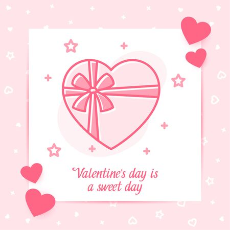 Box of chocolates with bow valentine card with love text, Valentines day, february 14, pink line icon with decor, social networks post template. Love, wedding, romantic symbol. Vector illustration Standard-Bild - 139625152