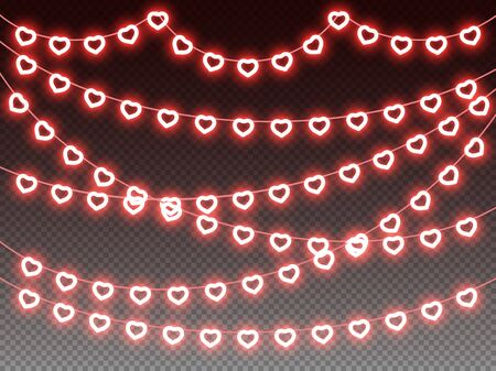 Heart glowing light bulbs horizontal garlands on transparent background, love, valentine, wedding, romantic, valentines day holiday design, outline heart shape garlands decoration. Vector illustration
