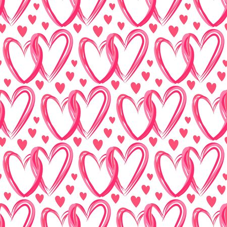 Heart seamless pattern. Love, valentines day, wedding, romantic symbol. Red, pink line double hearts, repeat ornament, background for paper wrap, fabric print, wallpaper decor. Vector illustration Vettoriali