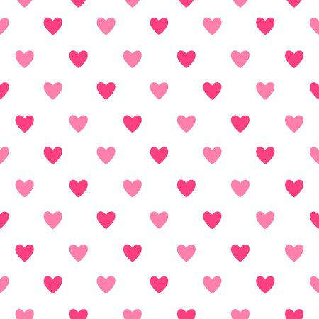 Heart seamless pattern. Love, valentines day, wedding, romantic symbol. Pink, red hearts signs, repeat ornament, background for paper wrap, fabric print, wallpaper decor. Vector illustration