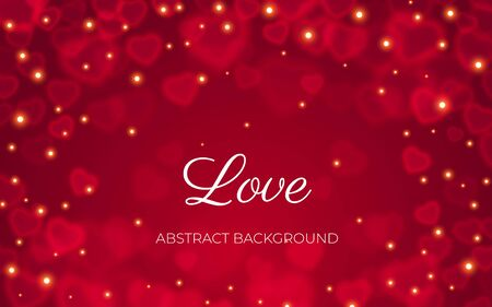 Red abstract background with transparent heart bokeh and sparkle lights. Layered frame from heart shape elements. Love text on valentine card, wedding or romantic banner template, vector illustration