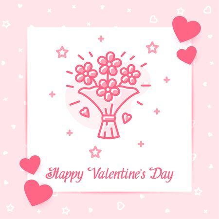 Flowers bouquet valentine card with Happy Valentines day text, february 14 pink color line icon style with decor, social networks post template. Love, wedding, romantic symbol. Vector illustration Vettoriali
