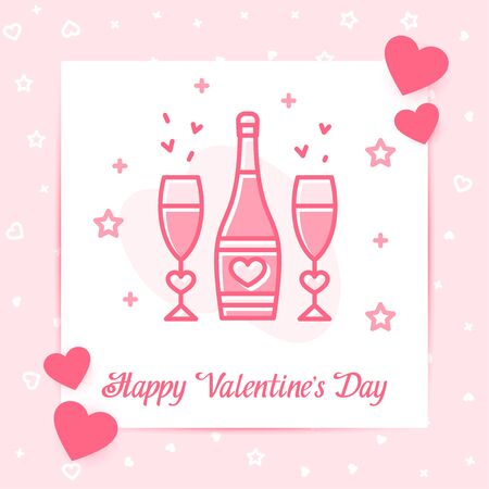 Champagne bottle and glasses with hearts valentine card, love text, Valentines day, february 14, decor pink line icon, social networks post template. Love, wedding, romantic symbol Vector illustration Vettoriali