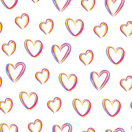 Heart seamless pattern. Love, valentines day, wedding, romantic symbol. Colorful line hearts, repeat ornament, background for paper wrap, fabric print, wallpaper decor. Vector illustration Vettoriali