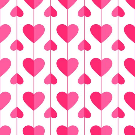 Heart seamless pattern. Love, valentines day, wedding, romantic symbol. Paper style pink, red hearts garland repeat ornament background for wrap, fabric print, wallpaper decor. Vector illustration Archivio Fotografico - 139625160