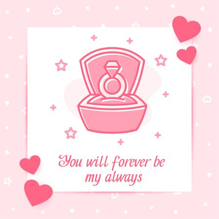 Marriage proposal ring in box valentine card with love text, Valentines day, february 14, pink line icon with decor, social networks post template. Love, wedding, romantic symbol. Vector illustration Vettoriali