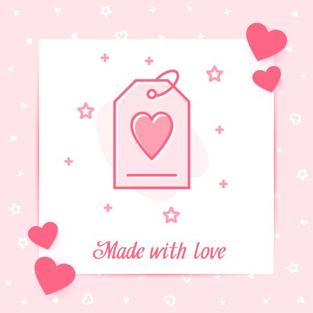 Tag with heart valentine card with Made With love text, for Valentines day, february 14 pink line icon with decor, social networks post template. Love, wedding, romantic symbol Vector illustration