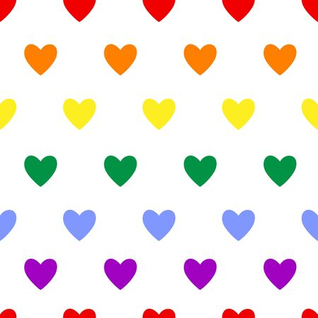 Heart seamless pattern. Lgbt flag color symbol on white. Love, valentines day, wedding, romantic sign. Hearts repeat ornament, background for wrap, fabric print, wallpaper decor. Vector illustration Vettoriali