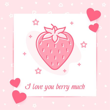 Pink strawberry in heart shape valentine card with I love you berry much text, Valentines day, february 14, decor pink line icon, post template. Love, wedding, romantic symbol. Vector illustration Vettoriali
