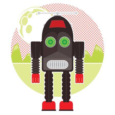 Vector Illustration of a vintage black wind up robot on alien landscape