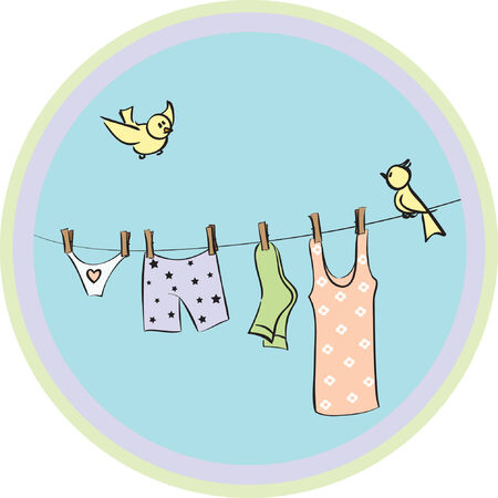 clothes dry on a cord Vector